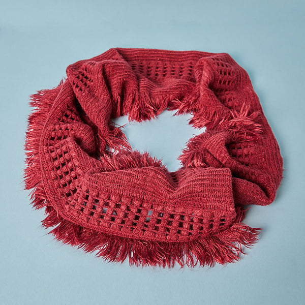 """Red circle scarf with fringe """