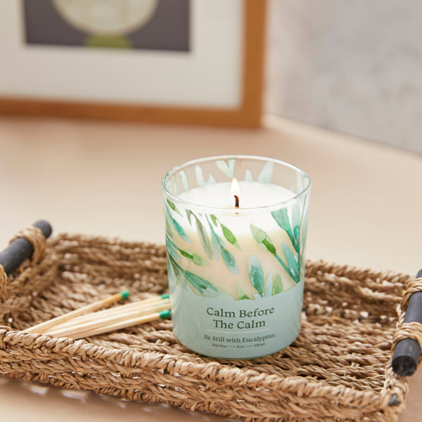 Soy wax candle with eucalyptus essential oils
