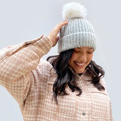 Multi Pom-Pom Beanie in Grey