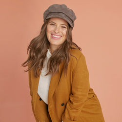Grey newsboy cap for women