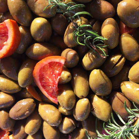 Traditional Calabrian Style Olives -  with Blood Oranges and Rosemary 300g
