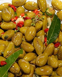 Traditional Calabrian Style Olives - Marinated in Bayleaf &  Dried Oregano. 300g