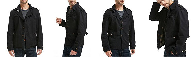 Men's Cotton Single Breasted Trench Jacket