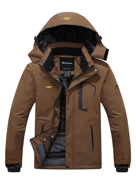 Men's Waterproof Ski Jacket Fleece Winter Coat Windproof Rain Jacket