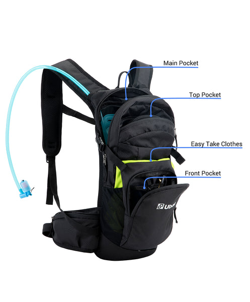 Ubon Hydration Pack with BPA Free 2L Bladder for Hiking, Running, Cycling, and Climbing