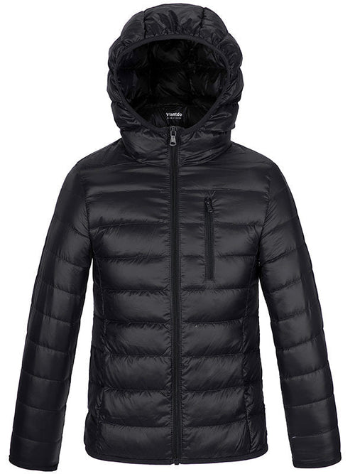 Boy's Winter Windproof Lightweight Packable Puffer Hooded Down Jacket