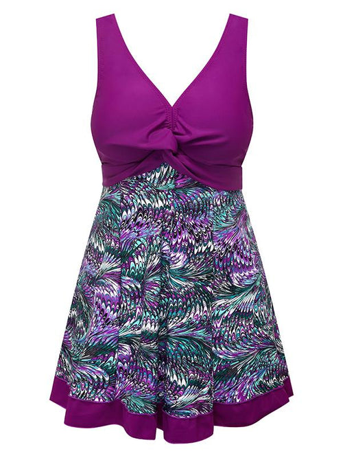 Purple Women's Slimming Modest Swimdress Vintage Peacock One Piece Swimwear