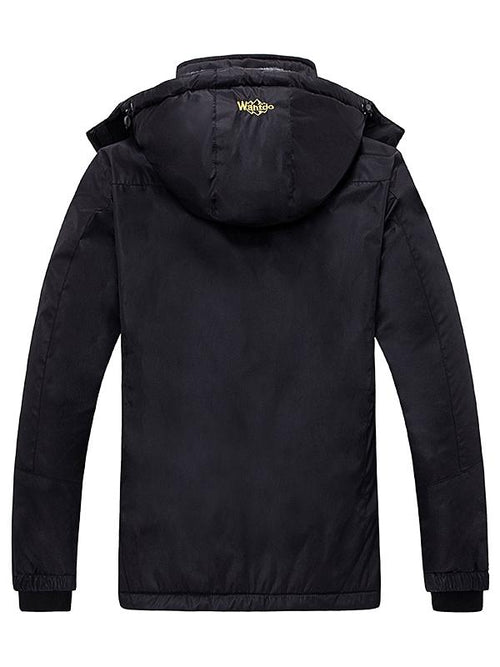 Black Women's Waterproof Windproof Fleece Jacket With Hood