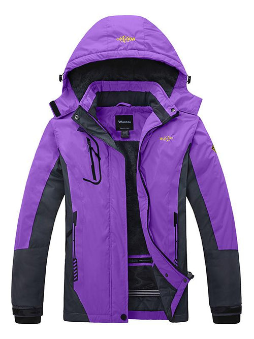 DarkOrchid Women's Waterproof Windproof Fleece Jacket With Hood