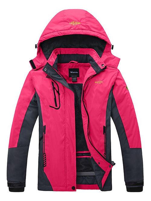 PaleVioletRed Women's Waterproof Windproof Fleece Jacket With Hood
