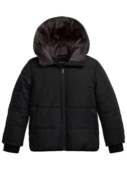 Boy's Hooded Winter Jacket Windproof Ski Fleece Coat