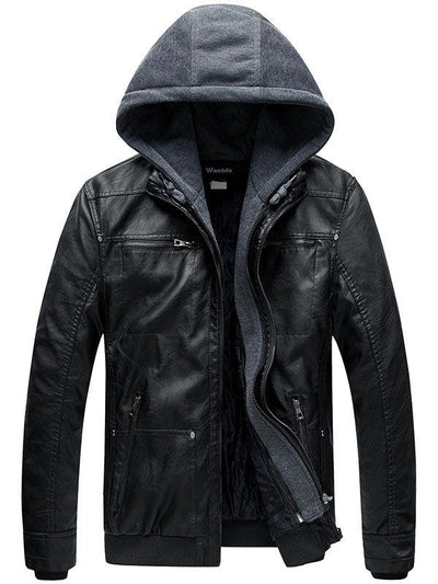 Mens Faux Leather Jacket with Removable Hood