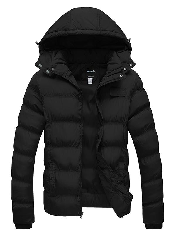 Men's Puffer Jacket Winter Coat with Removable Hood