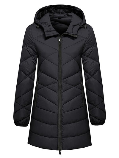 Women's Packable Long Down Jacket Quilted Travel Coat for Winter