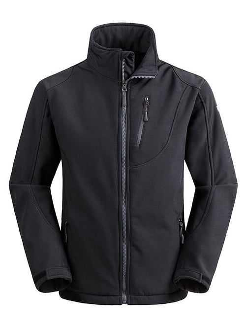 LightBlack Men's Outdoor Front-Zip Windproof Softshell Jacket