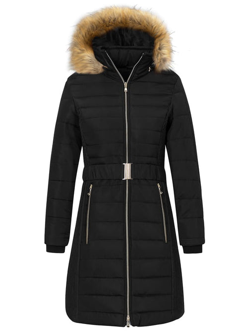 Black Women's 3-in-1 Waterproof Ski Jacket Windproof Puff Liner Winter Coat