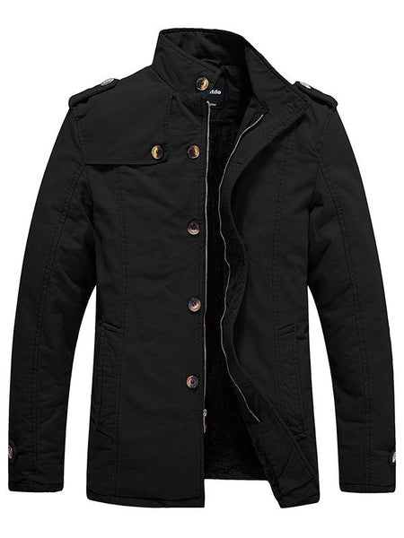 Men's Cotton Jacket Stand Collar with Fleece
