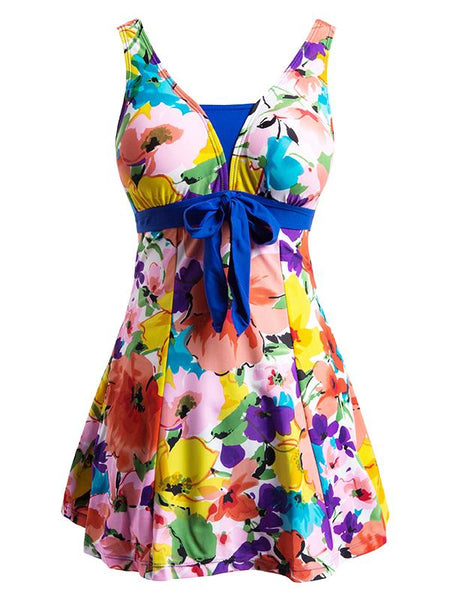 Blue-Flower Women's Floral Swimdress Slimming Push Up Skirting Swimsuit