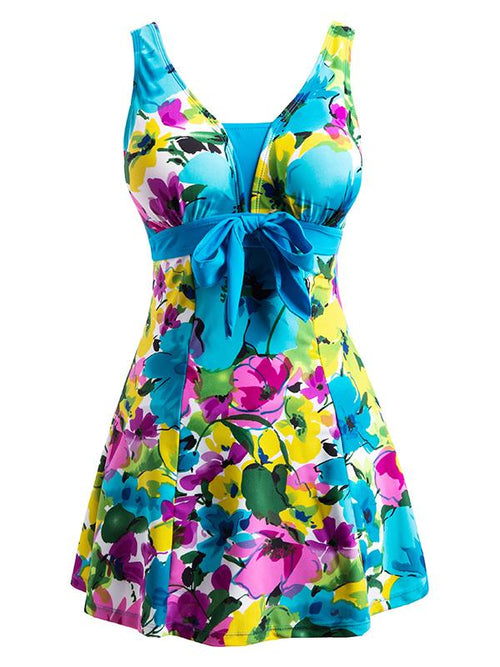 DeepSkyBlue-Flower Women's Floral Swimdress Slimming Push Up Skirting Swimsuit
