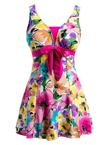 DeepPink-Flower Women's Floral Swimdress Slimming Push Up Skirting Swimsuit