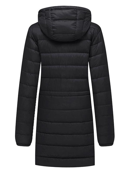 Black Women's Hooded Packable Ultra Light Weight Down Coat