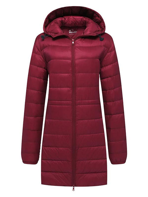 DarkRed Women's Hooded Packable Ultra Light Weight Down Coat