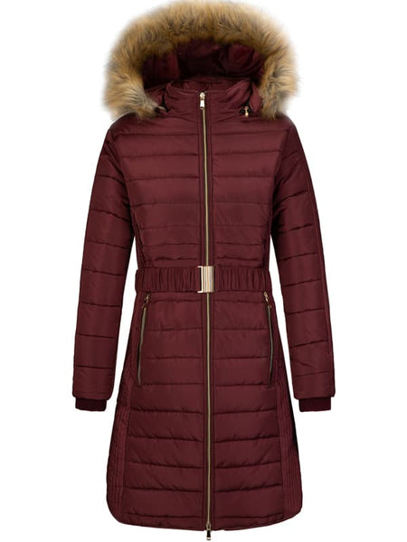 Maroon Women's 3-in-1 Waterproof Ski Jacket Windproof Puff Liner Winter Coat