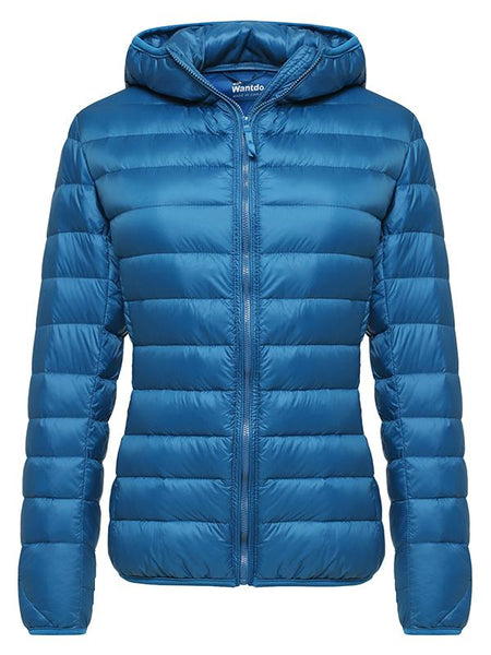 SteelBlue Women's Hooded Packable Ultra Light Weight Short Down Jacket