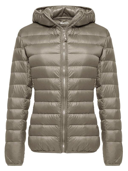 Tan Women's Hooded Packable Ultra Light Weight Short Down Jacket