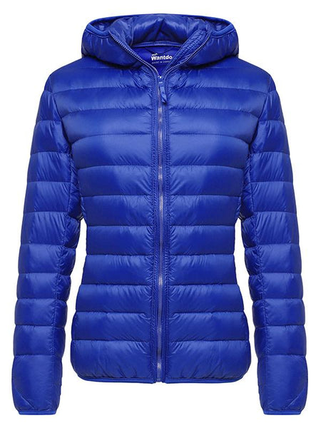 RoyalBlue Women's Hooded Packable Ultra Light Weight Short Down Jacket