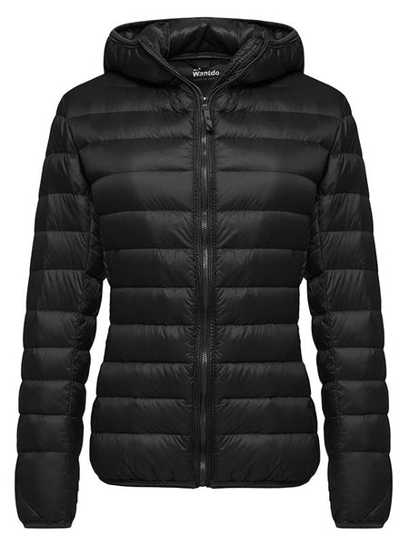 Black Women's Hooded Packable Ultra Light Weight Short Down Jacket