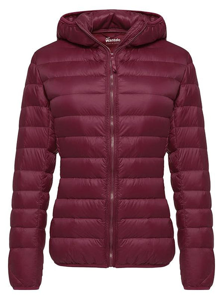 DarkRed Women's Hooded Packable Ultra Light Weight Short Down Jacket