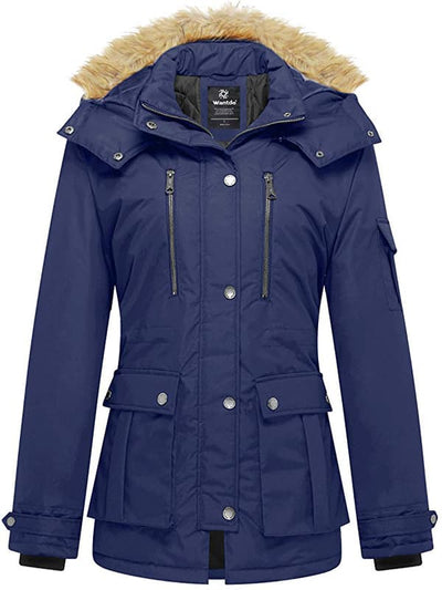 Women's Winter Parka Coat with Removable Fur Hood