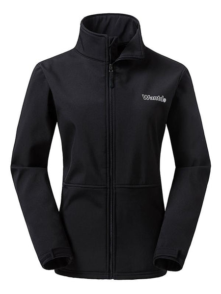 Black Women's Outdoor Front-Zip Windproof Softshell Jacket