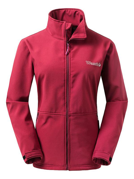 Red Women's Outdoor Front-Zip Windproof Softshell Jacket
