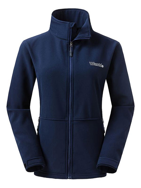 Navy Women's Outdoor Front-Zip Windproof Softshell Jacket
