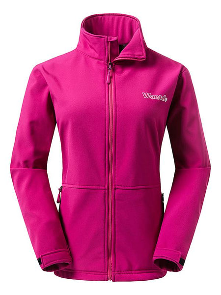 DeepPink Women's Outdoor Front-Zip Windproof Softshell Jacket