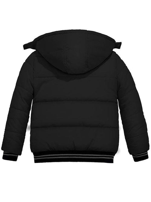Boy's Padded Winter Coat With Removable Hood Windproof Puffer Jacket