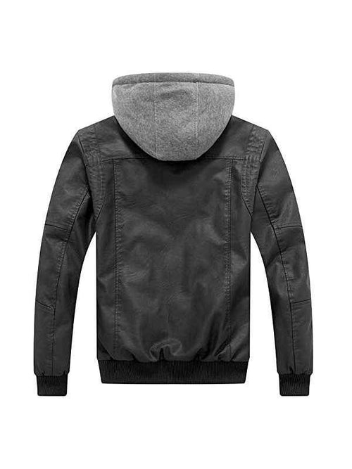 Men's Faux Leather Jacket Moto Hoodie Jacket Outwear