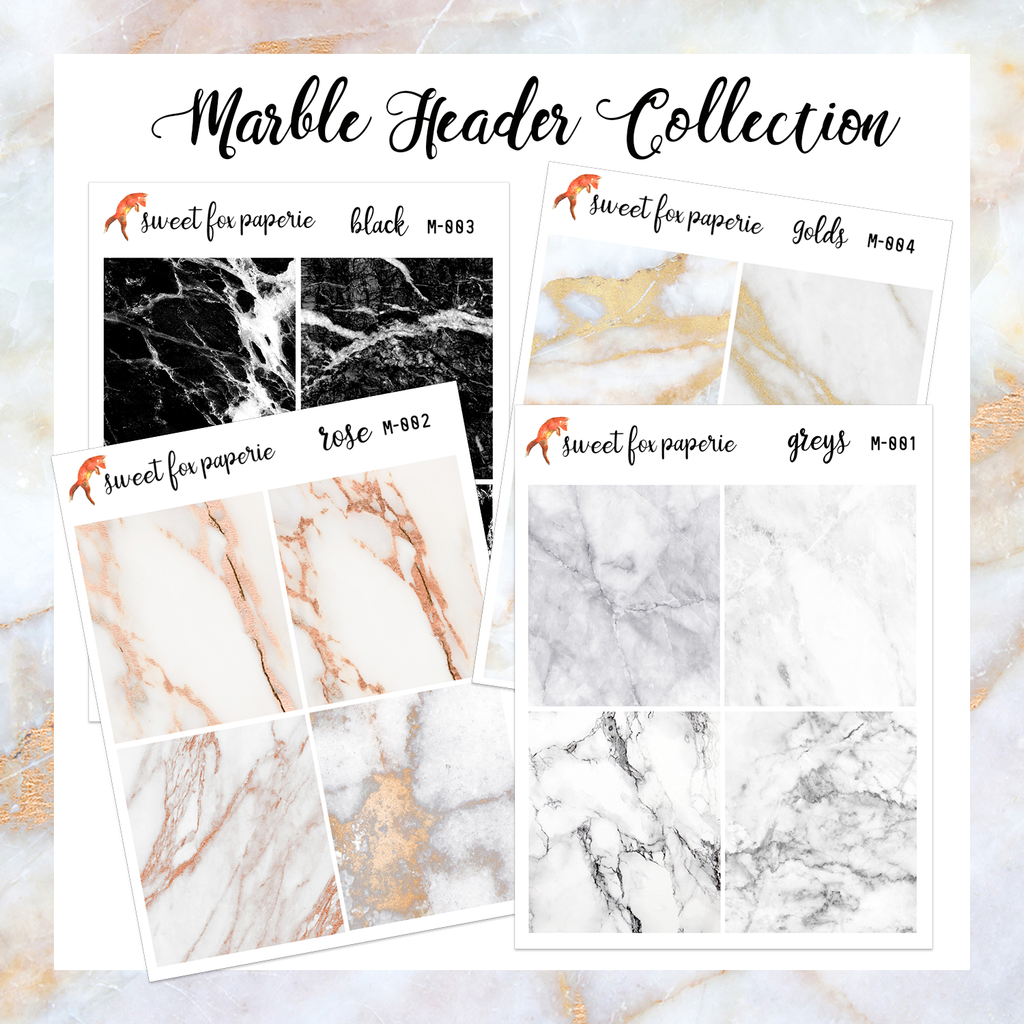 Marble Header Collection - Sweet Fox Paperie