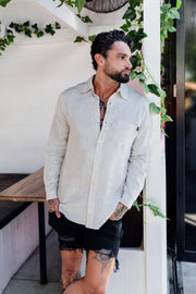 LINEN STAPLE BUTTON UP