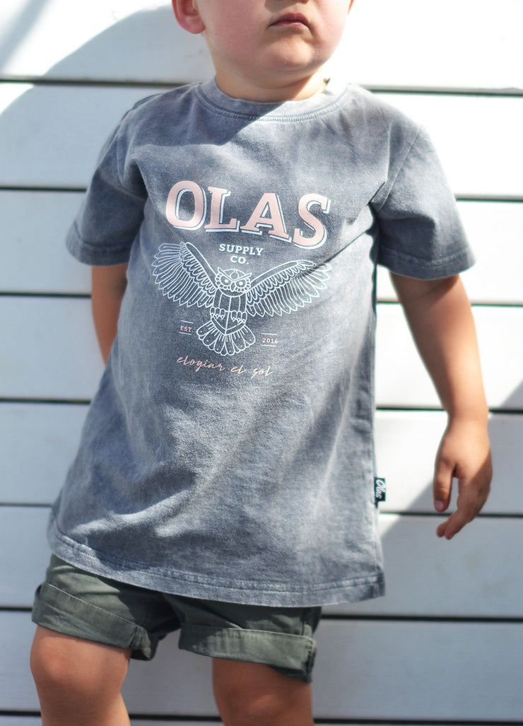 OWL MINI TEE VINTAGE CHARCOAL - OLAS SUPPLY CO.