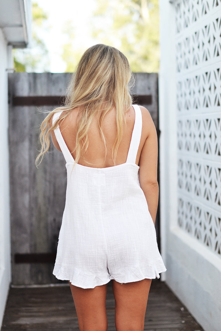SANDY PLAYSUIT WHITE - OLAS SUPPLY CO.