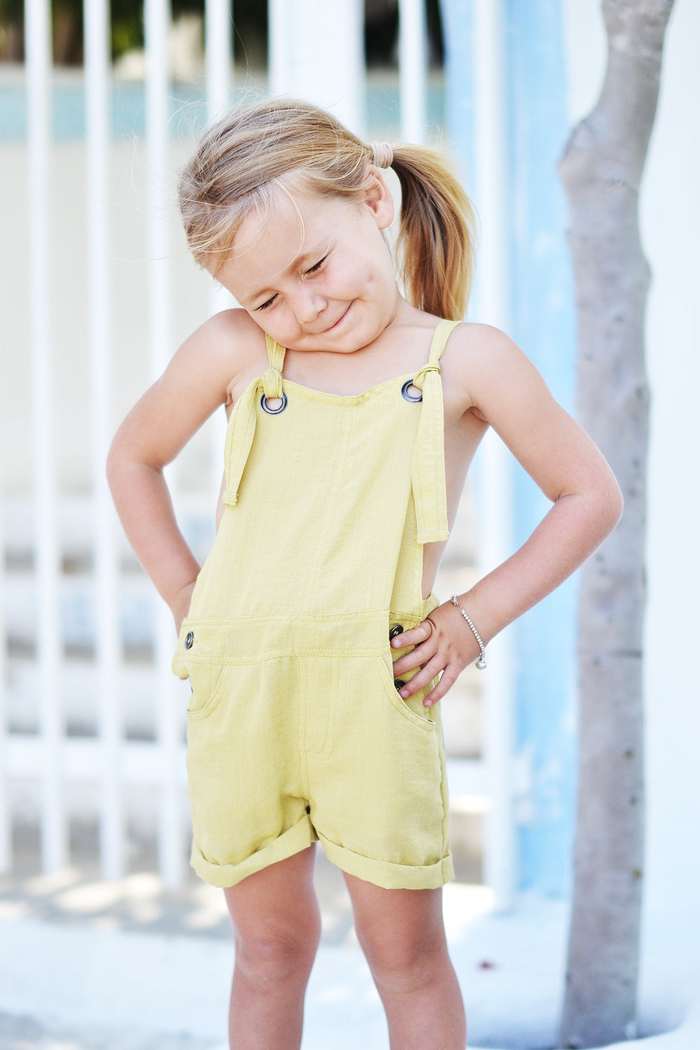 EMILY MINI OVERALLS YELLOW - OLAS SUPPLY CO.