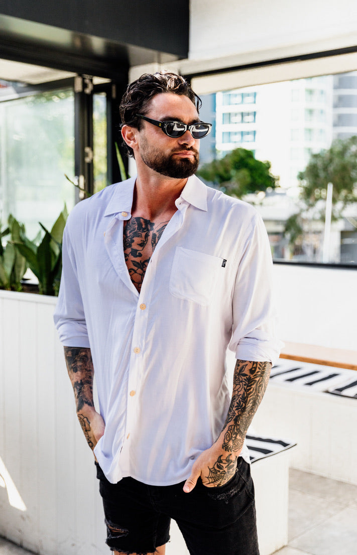 STAPLE LONG SLEEVE BUTTON UP WHITE