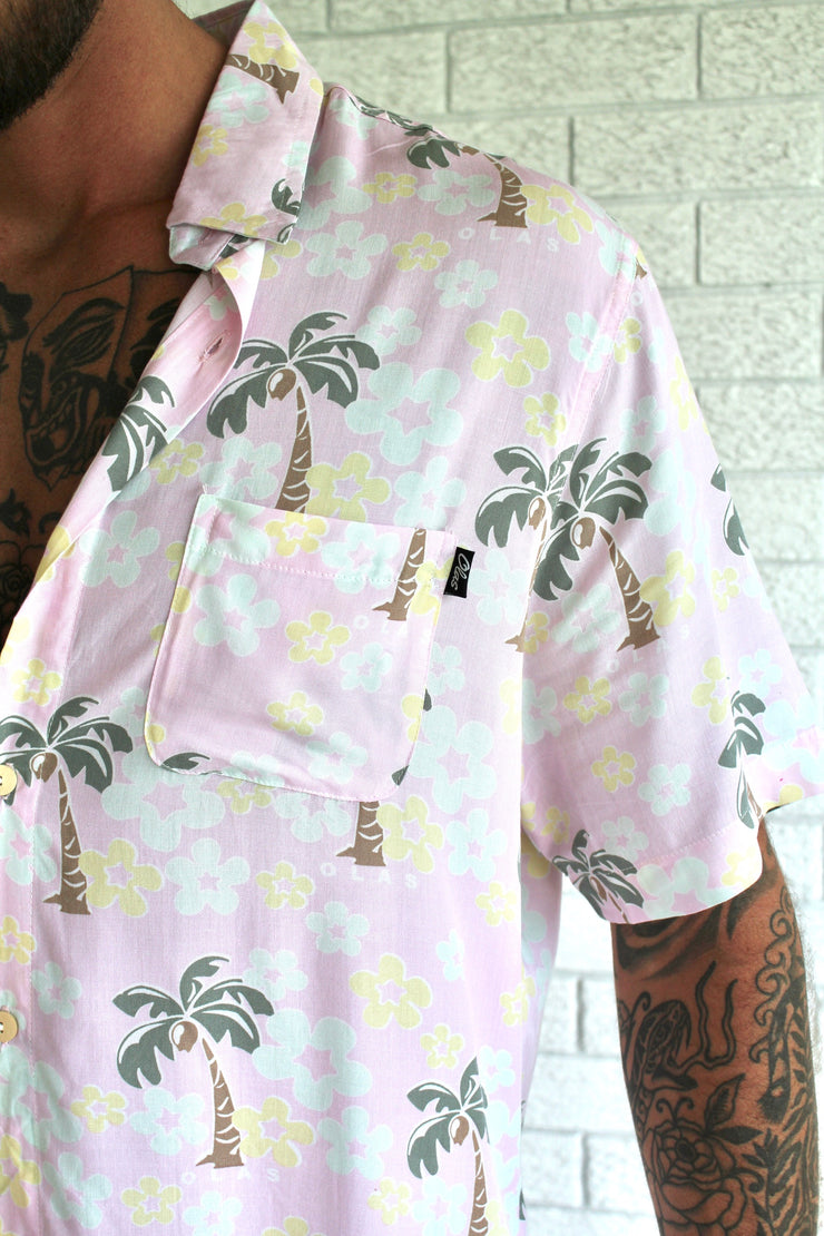 PALM BUTTON UP PINK