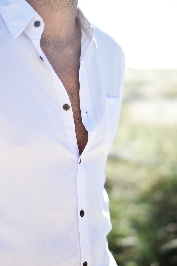 STAPLE BUTTON UP WHITE - OLAS SUPPLY CO.