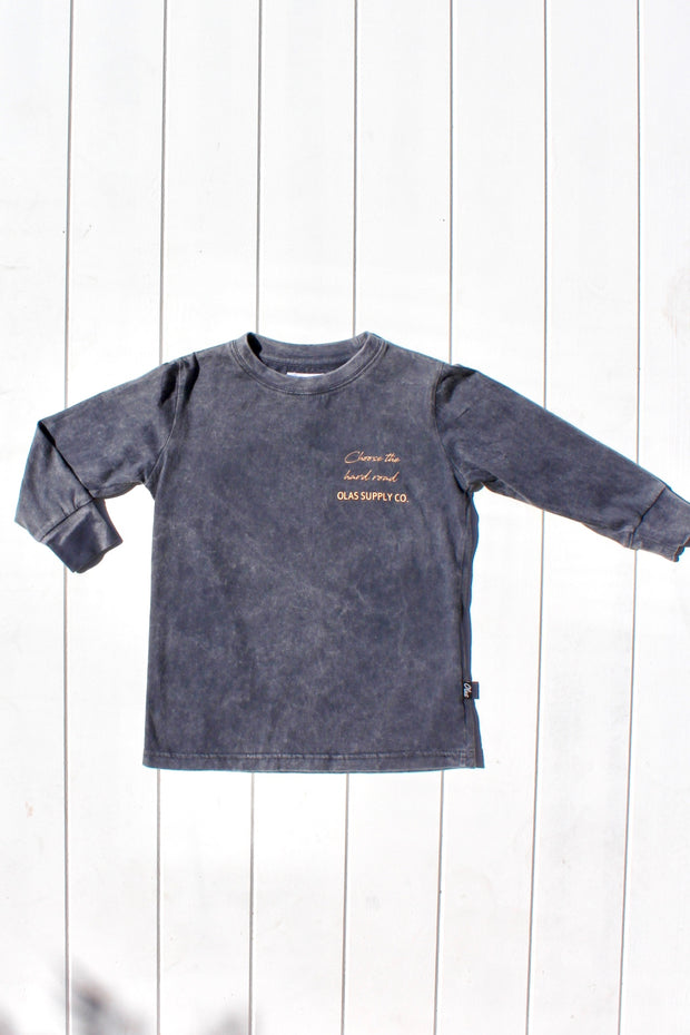 CANGGU MINI LONG SLEEVE TEE CHARCOAL - OLAS SUPPLY CO.