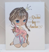 Princess Unicorn girl Personalised Canvas Panel