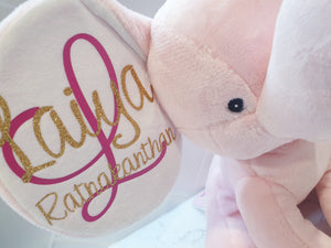 Pink Birth Announcement Elephant.